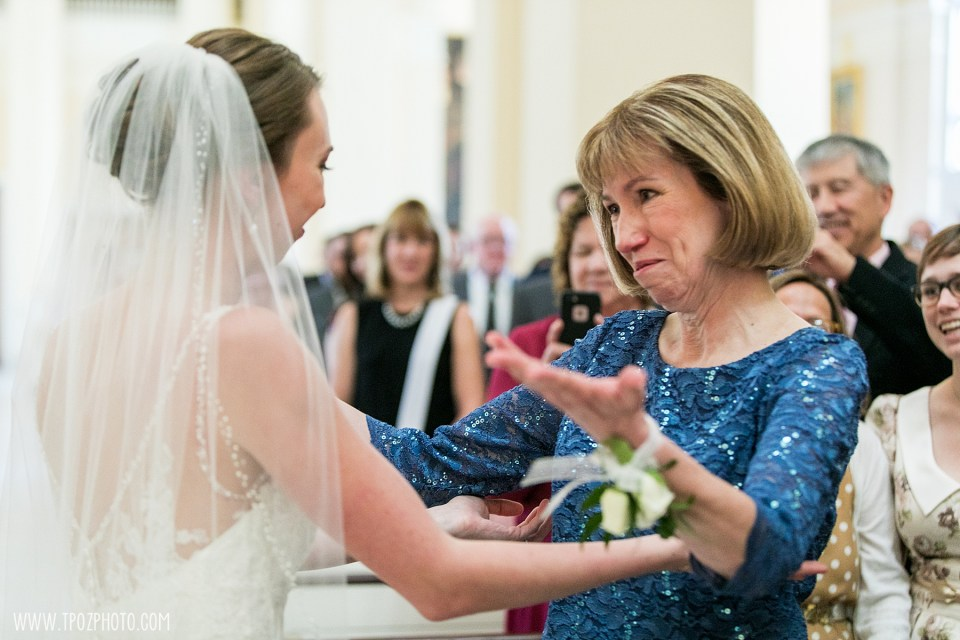 Mom and bride at Baltimore Basilica Wedding Ceremony