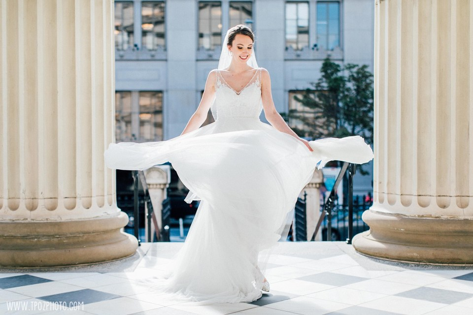 Bride twirls her dress Baltimore Basilica Wedding Photos