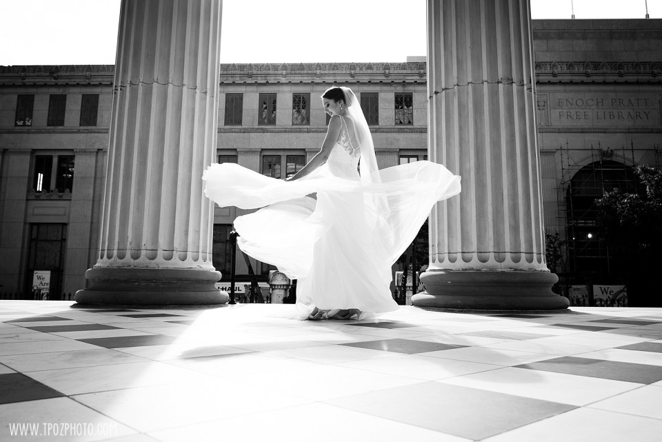 Bride twirling Baltimore Basilica Wedding Photos
