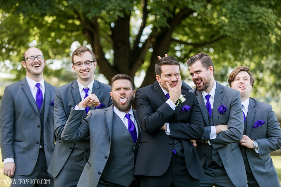 Funny groomsmen faces at Turf Valley Resort Wedding Photos