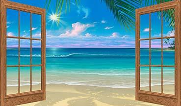 Finestra oberta que mostra la platja, la mar i un cel blau