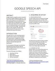 Screenshot of the PDF document Google Speech API Information and Guidelines
