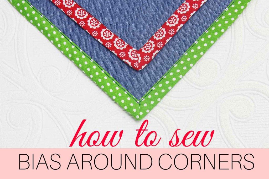 how to sew bias tape corners, mitered corners