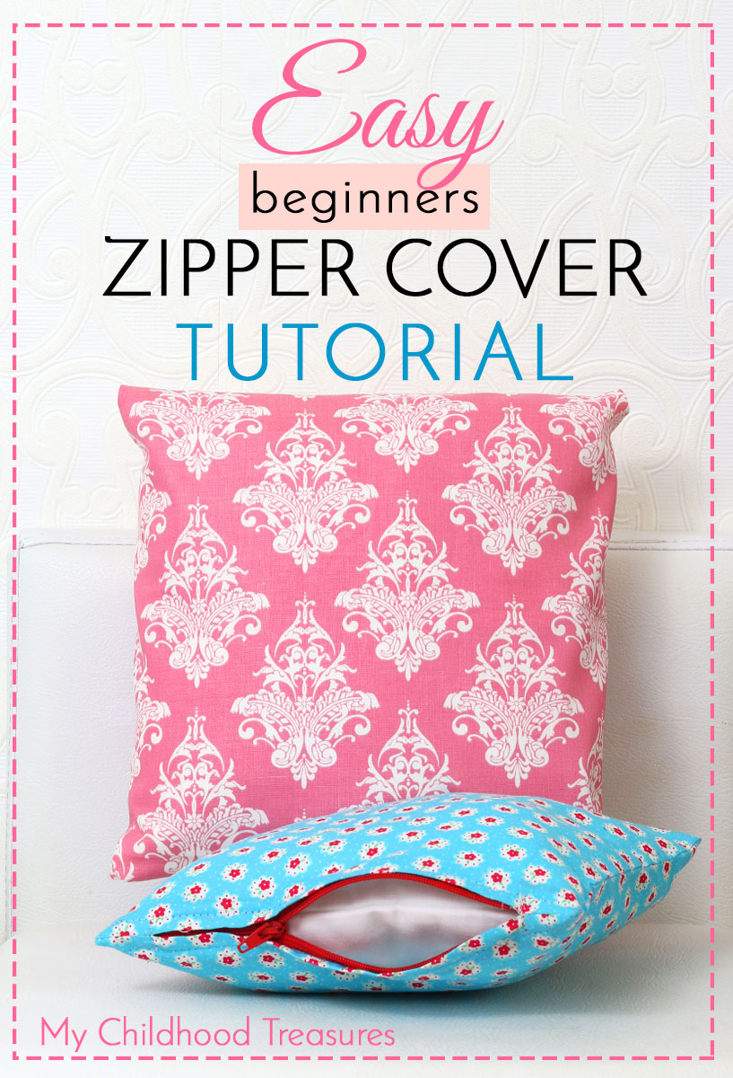 How To Make Removable Throw Pillow Covers With Velcro Closure : How to Make Zippered Cushion Covers - for Beginners TREASURIE