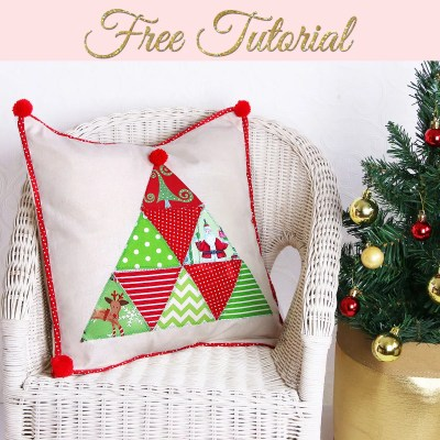 Christmas Pillows DIY – Pretty Cover with Tree Applique