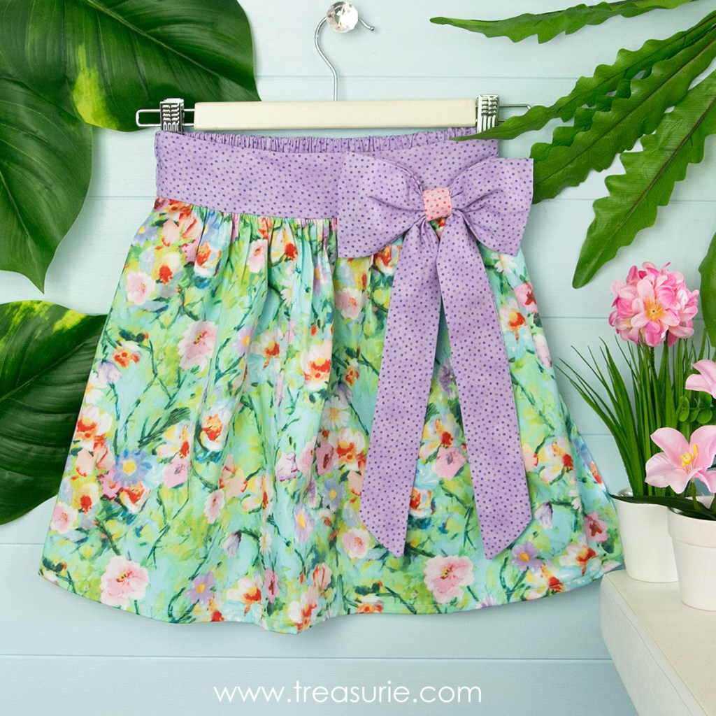skirt with diy fabric bow