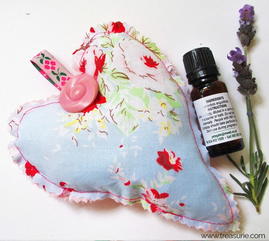 diy scented sachets, heart sachet