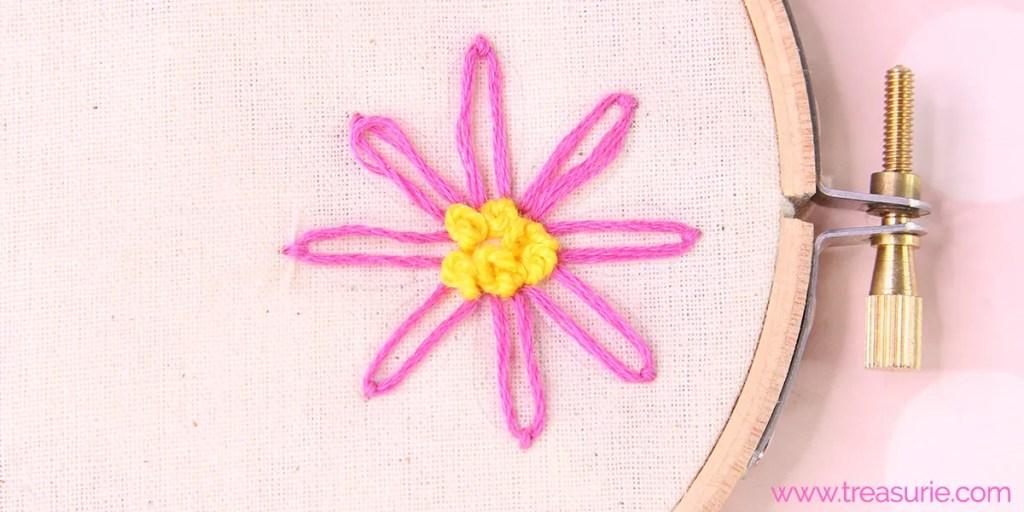 french knots and lazy daisy