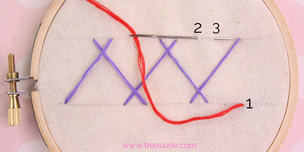 double herringbone stitch step 2