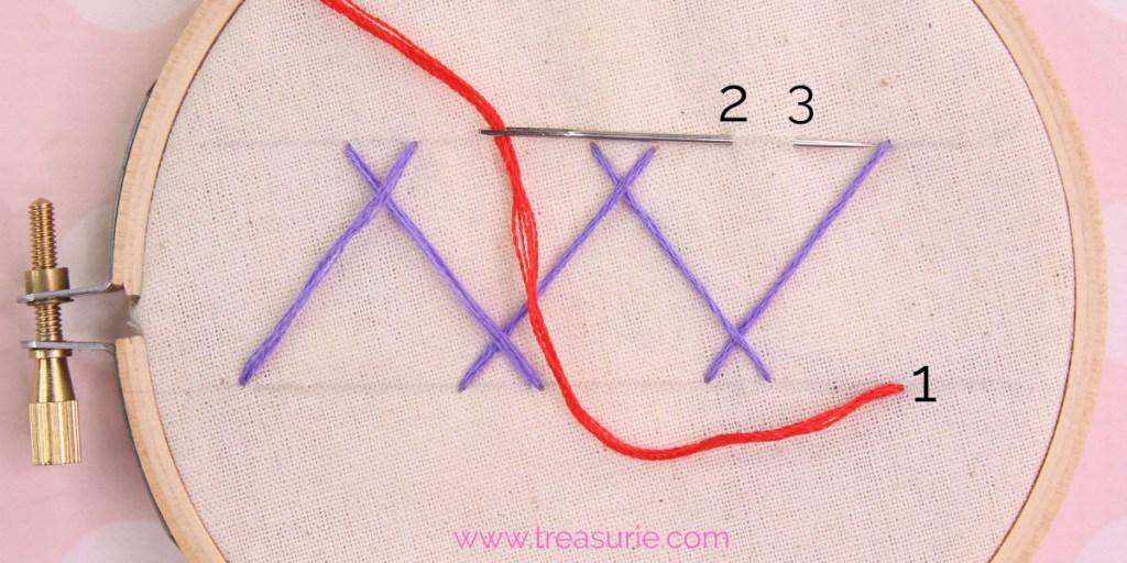 double herringbone stitch step 2