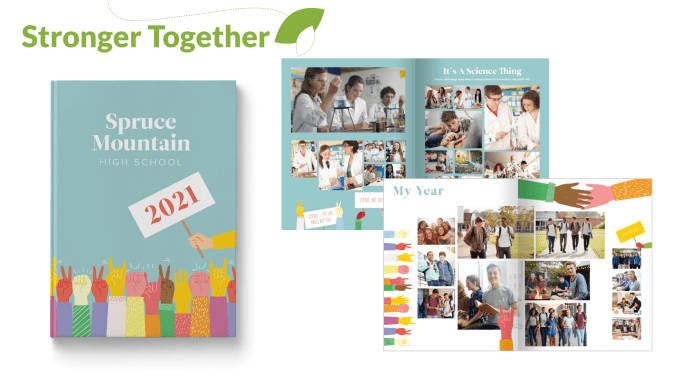 Stronger Together Yearbook Theme Cover and Pages