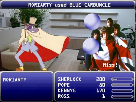 MORIARTY uses BLUE CARBUNCLE. It Misses.
