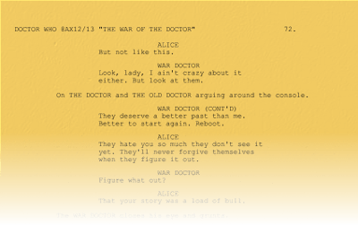Script page from a hypothetical Doctor Who starring Hugh Laurie and David Hasslehoff