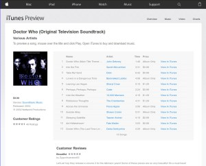 Doctor Who Soundtrack ITunes Listing