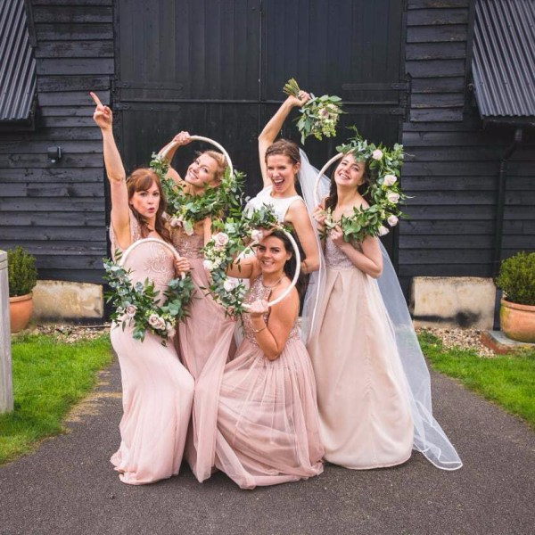 Neutral, Fun-filled Wedding with Bridesmaid Hoops