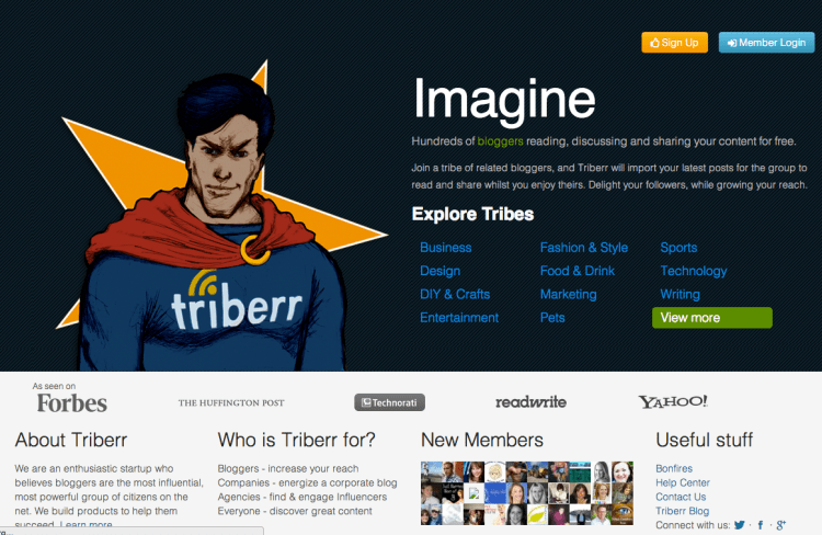 triberr homepage april 2013