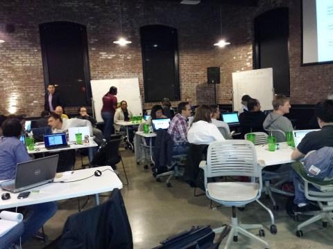 hackathon teams hard at work
