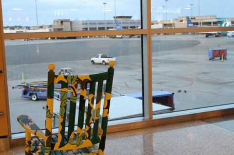 Comfy Rocking Chairs in Boston Logan Terminal E