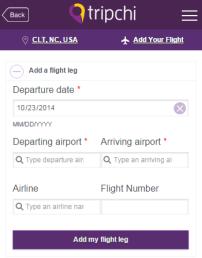 tripchi airport app - add your flight