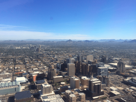 View of downtown Phoenix from AA647