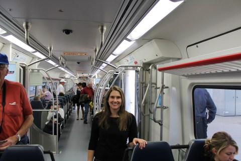 CJ riding the train