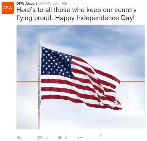 Airports Celebrating Independence Day on social media