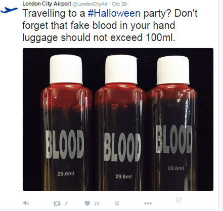 Fake blood limits at LCY for Airport Halloween 2016