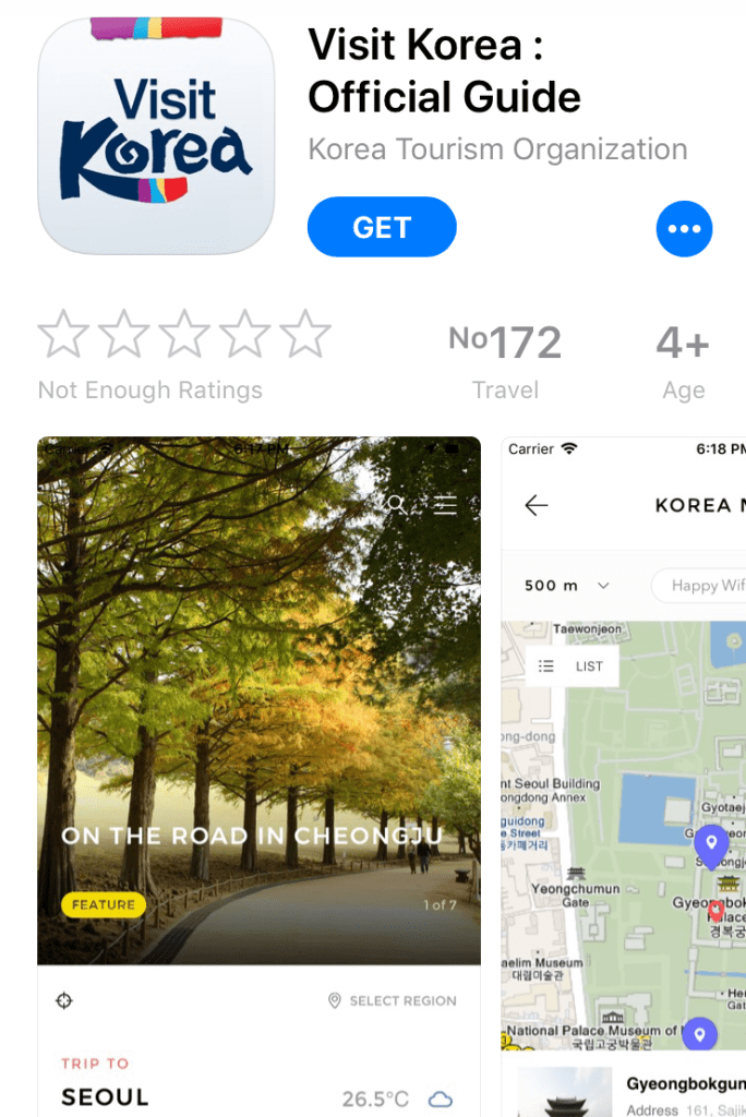 Apps for Korea Travel can be downloaded from App Store and Play Store