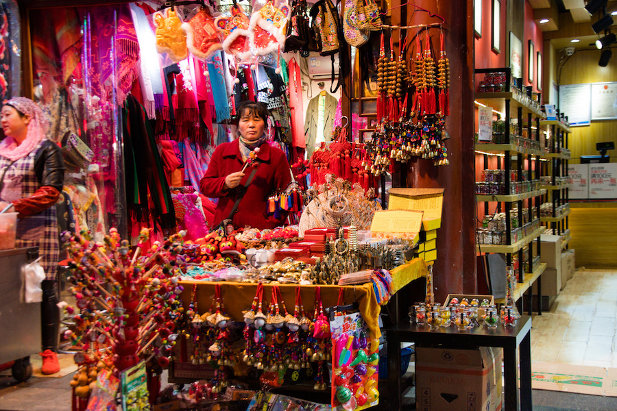 There are various souvenirs sold in Muslim Quarter
