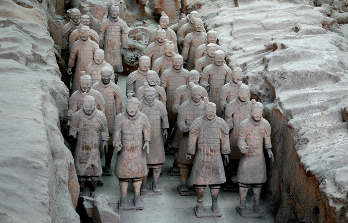 Terracotta soldiers on the march in Xian.