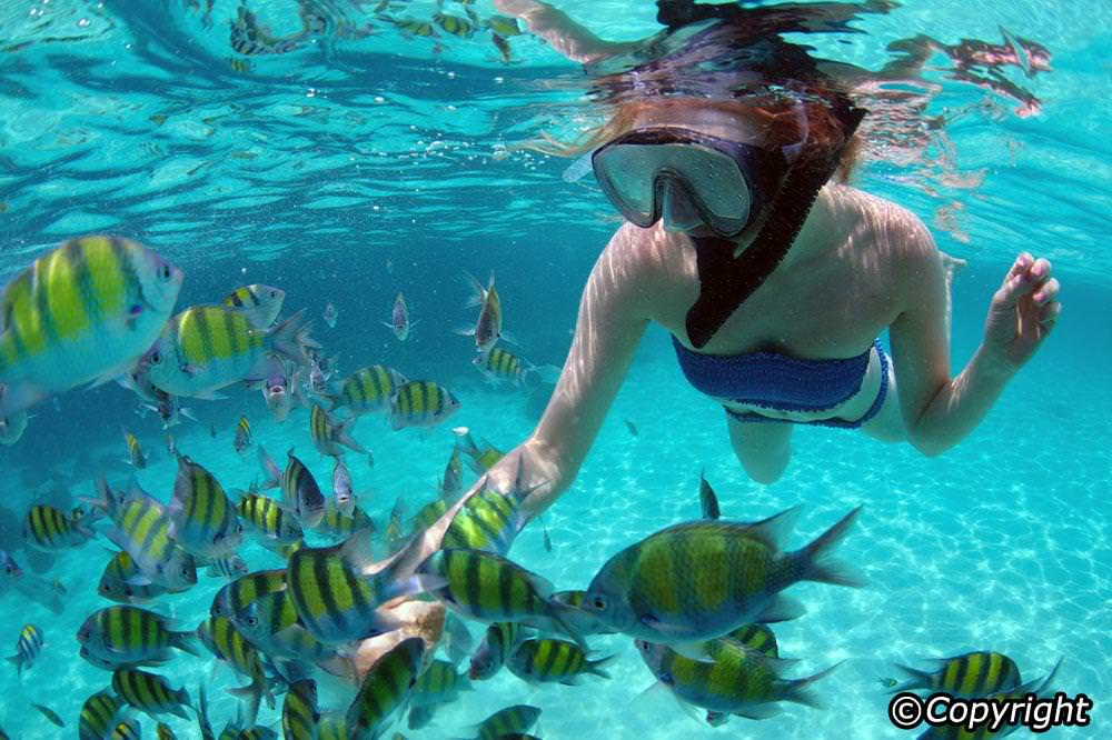 Snorkeling during a family vacation in Malaysia