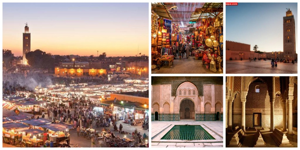 Maroc tour package: Visit Marrakesh Morocco and Koutoubia minaret, Saadian tombs, Bahia Palace, Medersa ben Youssef, Djemaa El Fna square | Morocco and Spain tour