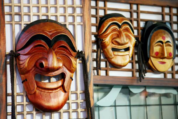 Wooden Hahoe masks make attractive wall decorations.