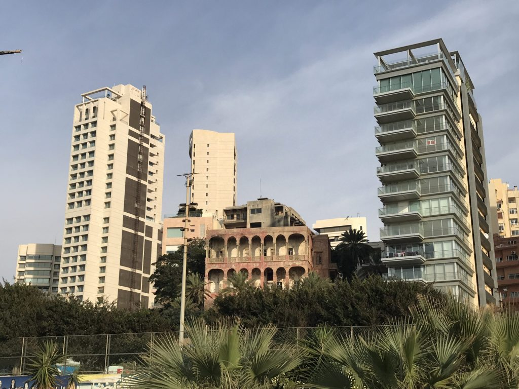 Pre War building Beirut nestled in between new developments.