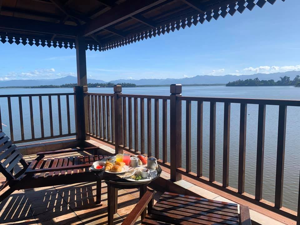 Enjoy the lake view of the Kampung Air Water Chalets during your family retreat in Perak, Malaysia