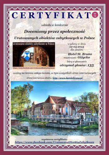Trzynasty certyfikat - Hotel St. Bruno w Giżycku - http://www.hotelstbruno.pl
