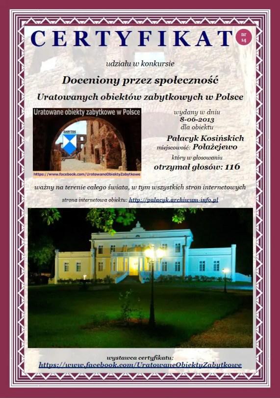 Czternasty certyfikat Pałacyk Kosińskich w Połażejewie - http://palacyk.archiwum-info.pl