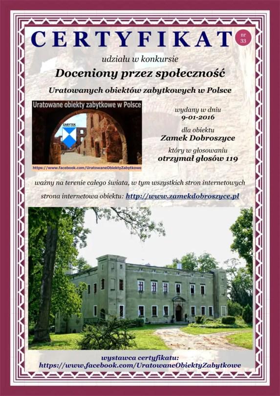 Trzydziesty trzeci certyfikat Zamek Dobroszyce - http://www.zamekdobroszyce.pl