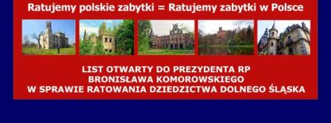 LIST OTWARTY DO PREZYDENTA RP W SPRAWIE RATOWANIA DZIEDZICTWA DOLNEGO ŚLĄSKA