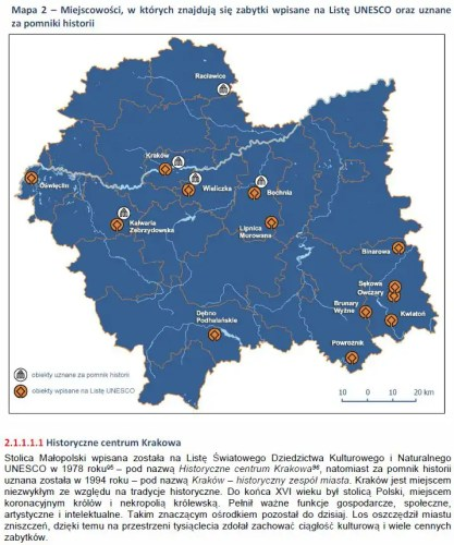 Miejscowości, w których znajdują się zabytki wpisane na Listę UNESCO oraz uznane za pomniki historii