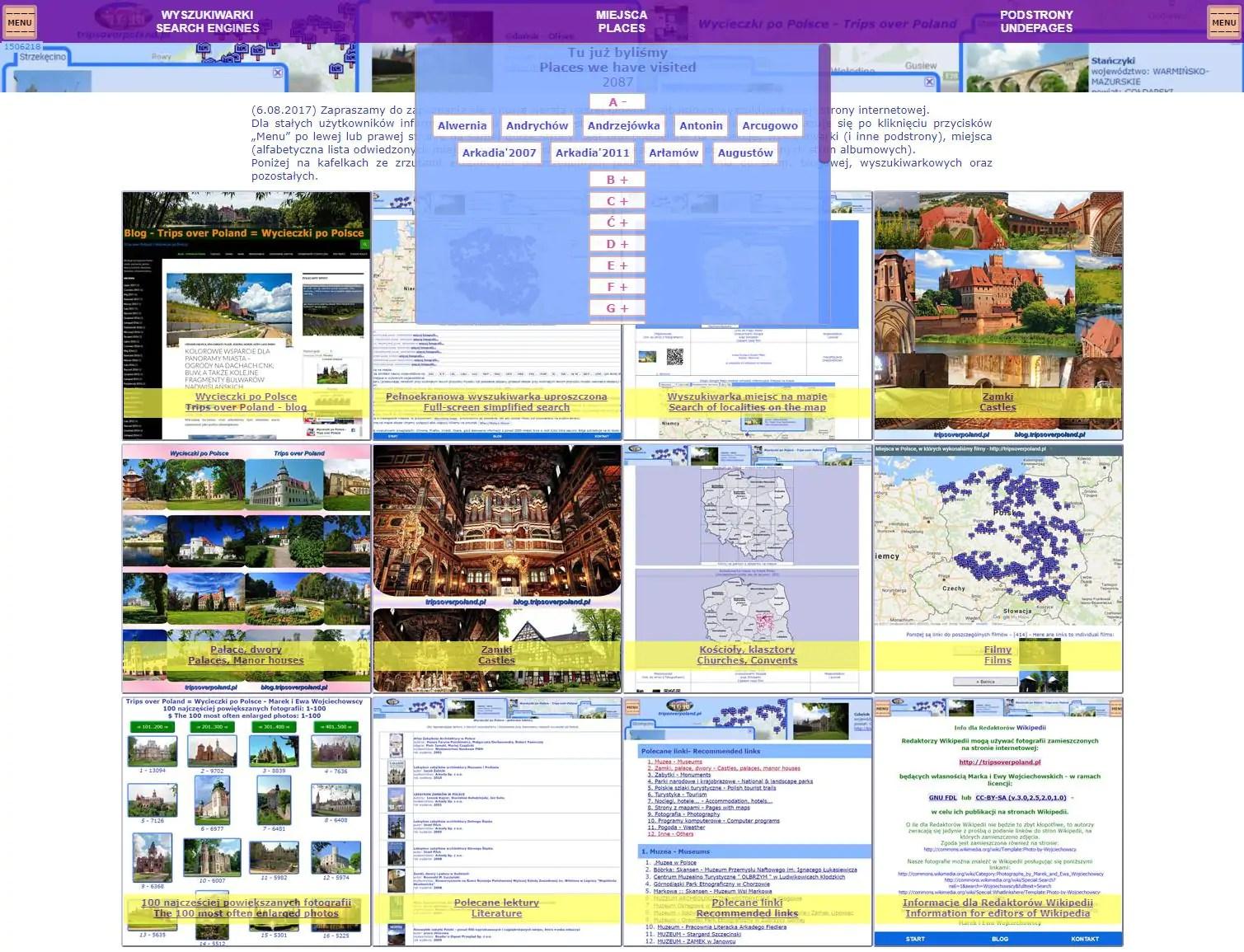 Ekrany nowej wersji naszej strony tripsoverpoland.pl