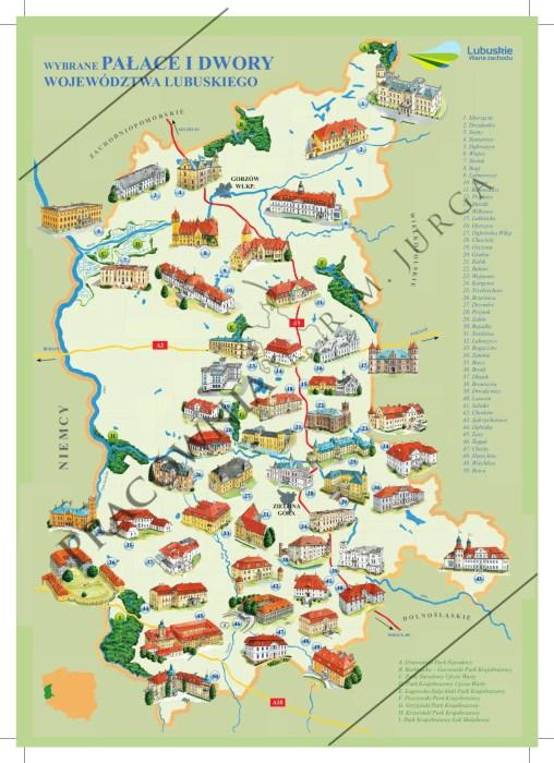 Mapa pałaców i dworów w województwie lubuskim - wykonanie graficzne: Robert M. Jurgahttp://robertjurga.pl/