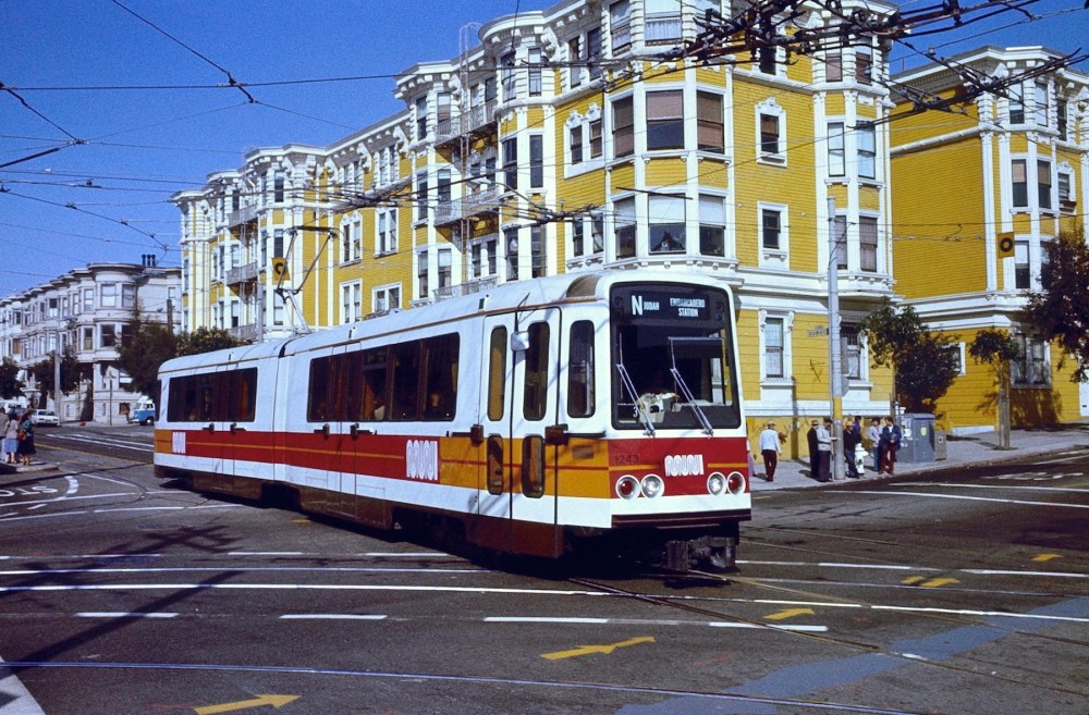 San Francisco Boeing LRV 1243 eastbound on Duboce Ave. at Church St. on March 24, 1980.  Photo by Steve Morgan.