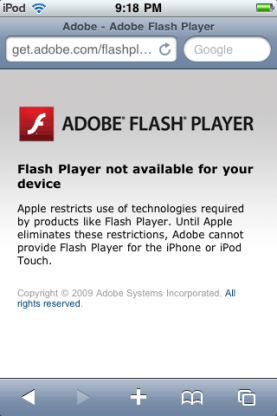 Adobe Flash Player iOS Warning