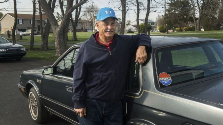 Mike Lawn with the candidate's OG wheels. Photo credit: Clare Becker/The (Hanover, PA.) Evening Sun via AP