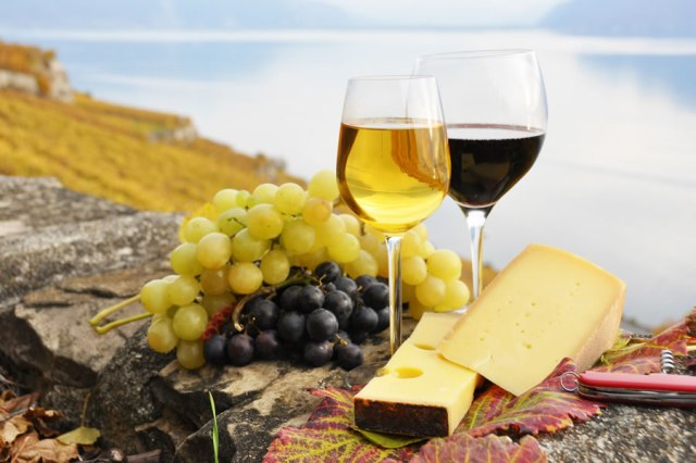 Wine and cheese near the sea