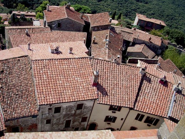 The rooftops of the old town centre of Capalbio from the tower