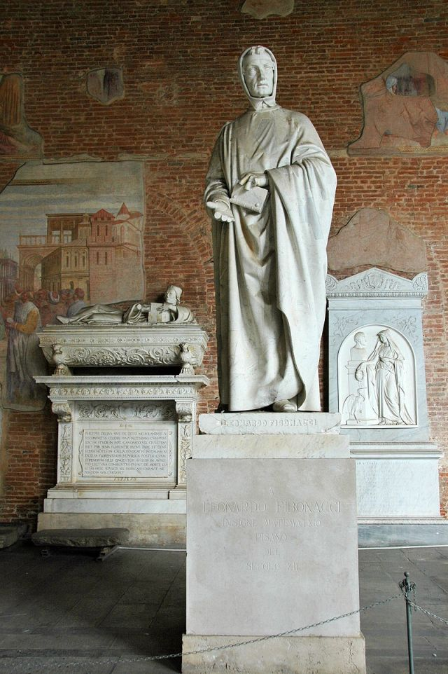 19th century statue of Fibonacci in Camposanto, Pisa