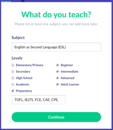 Set up your online private tutoring business in minutes, with only one subject necessary, eg English as a Second Language, Mathematics, Chemistry - tutor.id lets you be an online tutor in any subject.