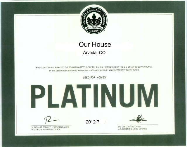Our House Leed Platium Certificate